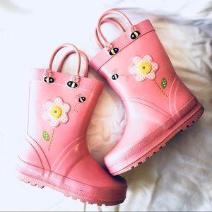 🐝☔️Toddler Rain Boots 8/9 Pink Bumble Bees